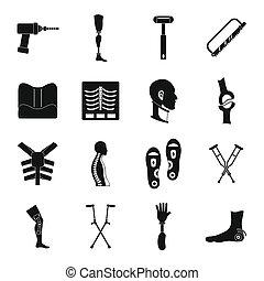 Orthopedics prosthetics icons set, simple style -...