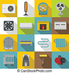 Heating cooling air icons set, flat style - Heating cooling...