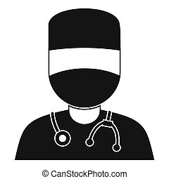 Doctor with mask icon, simple style