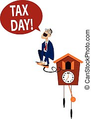 Tax Day Deadline - Accountant jumping from a cuckoo clock,...