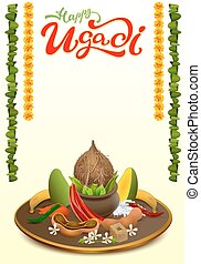 Happy Ugadi. Set Holiday accessories - Happy Ugadi lettering...