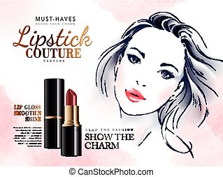 lipstick couture ad with red lipstick and a female face, 3d...