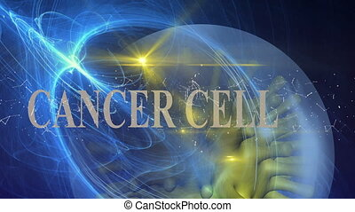 word cancer cell with connected lines - animation of word...