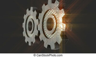 Very close up of two rotating gear - Technology concept -...
