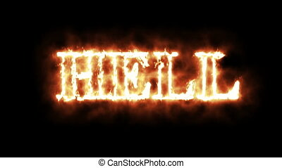 word hell in fire - 3d animation - word hell in fire