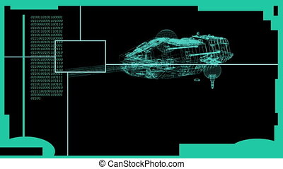 HUD Element in Hologram Style with animated wire frame display of space ship