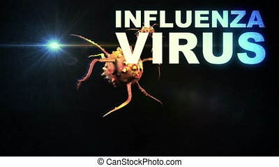 Illustration of Influenza Virus cells - animation -...