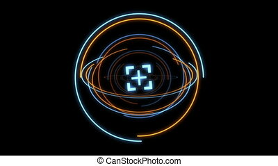 HUD Element in Hologram Style with animated light -...