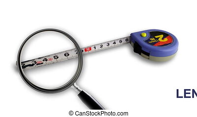 Close up of magnifying glass. Measure Tape isolated on white...