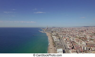 Aerial view of beach, sea, railways and hotels, Barcelona,...