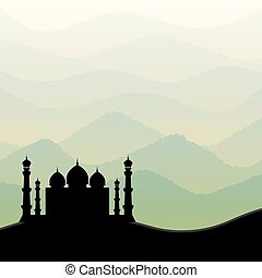 Background with mosque silhouette. Vector illustration.