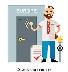 Vector Concept Membership in the European Union. Flat style colorful Cartoon illustration.