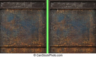 metal door opening to green screen - animation - metal door...