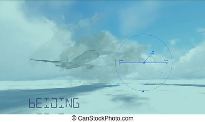 airplane flying over clouds - Animation of airplane flying...