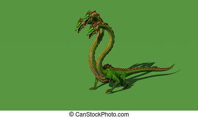 Hydra mystical water snake roars - isolated on green screen...