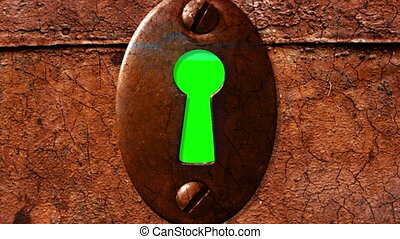 key hole with green screen from outside - animation-key hole...