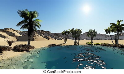 Oasis in the desert made with cartoon effect - 3d rendering...