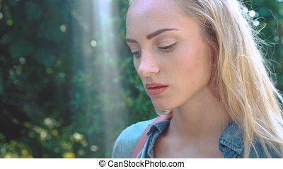 Beauty tourist woman on tropical vacation - Closeup face of...