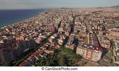 Aerial shot of Barcelona and coastline, Spain - Aerial view...