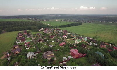 Private houses in Lukino Village, aerial view - Aerial view...