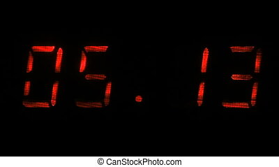 Rapid adjustment of time on the digital clock display, red...