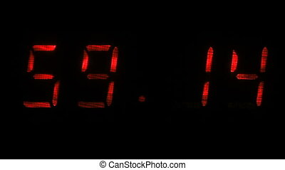 Digital clock shows the time of 59 minutes 10 seconds to 59...