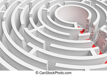 3d rendering of a round maze with a red arrow borrowing to the center in closeup view.