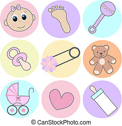 baby girl icons - nine different baby girl icons