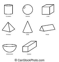 3d shape set isolated on white background...