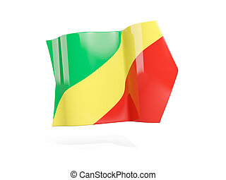 Arrow with flag of republic of the congo, isolated on white....