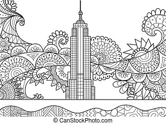 Spring in New York City for adult coloring book page