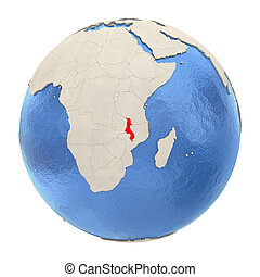 Malawi in red on full globe isolated on white - Map of...