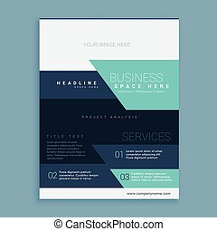 modern geometric brochure flyer poster design in blue theme