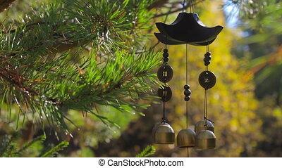 jardín, carillones, felicidad, éxito, balanceo, otoño,...