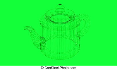 rotation of wireframe teapot made in 3d software