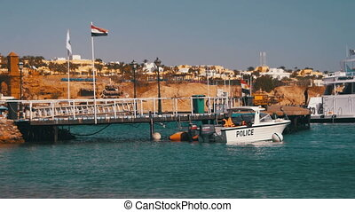 Coast Guard Motor Boat at the Pier in the Red Sea, Egypt -...