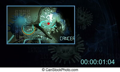cancer cell and word CANCER RESEARCH writing on cancer image...