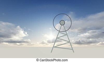antena transmitting radio waves - animation of antena...