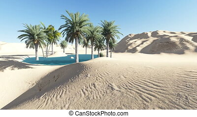 Oasis in the desert made in 3d software - animation-Oasis in...