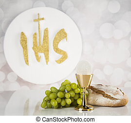 Holy communion a golden chalice, composition isolated on...