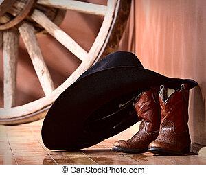 Cowboy, hatt, böjelse, stövel