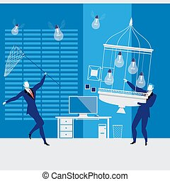 Businessmen catching idea bulbs, vector illustration