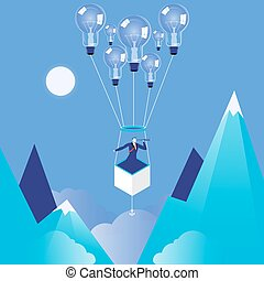 Vector illustration of businessman flying on idea bulb...