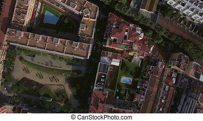 Aerial view of roofs of buildings, Barcelona, Spain - Aerial...
