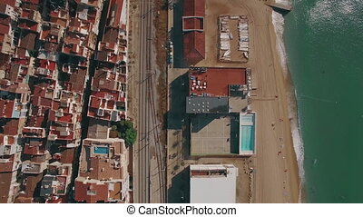 Coast in Barcelona, aerial view - Aerial view of Barcelona...