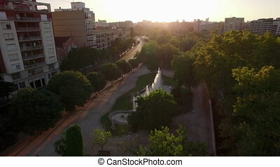 Valencia aerial cityscape at sunset, Spain - Aerial...