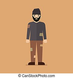 Homeless man character. Vector illustration