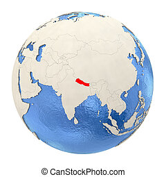 Nepal in red on full globe isolated on white - Map of Nepal...