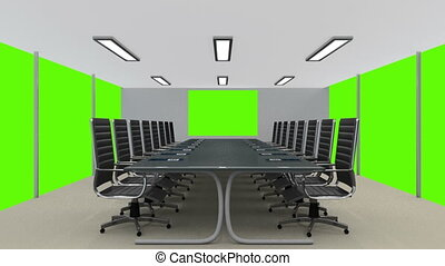Meeting room with green screen walls and display - Shot of...