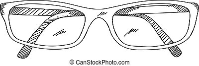 eye glasses hand drawing in doodle style